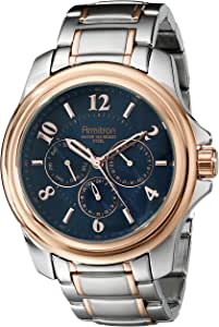Armitron Men's 20/4924NVTR Multi-Function Navy Blue Dial Silver-Tone and Rose Gold-Tone Bracelet Watch