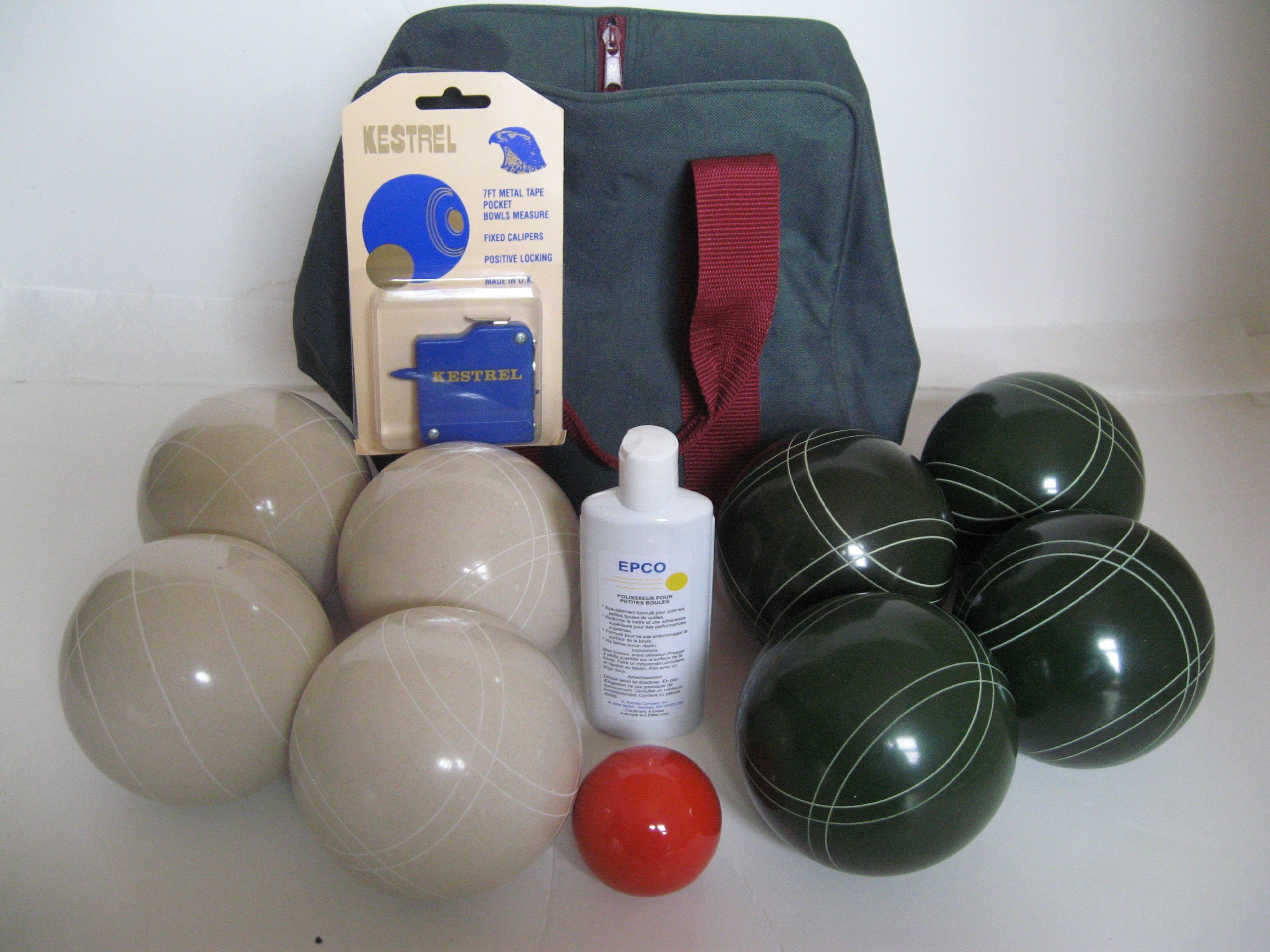 Premium Quality Basic EPCO Bocce package - 110mm White and Green balls, quality nylon bag, me...
