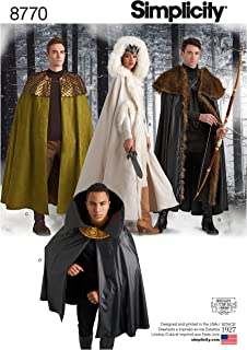 product image for Simplicity 8770 Unisex Fantasy Halloween and Cosplay Cape Costume Sewing Pattern, 4 Styles, One Size