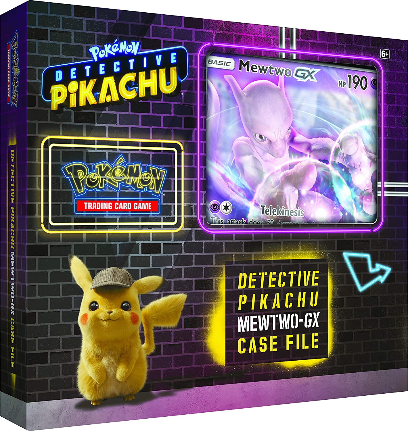 Pokemon TCG: Detective Pikachu Mewtwo-Gx Case File + 6 Booster Pack + A Foil Promo Gx Card + A Oversize Gx Foil Card