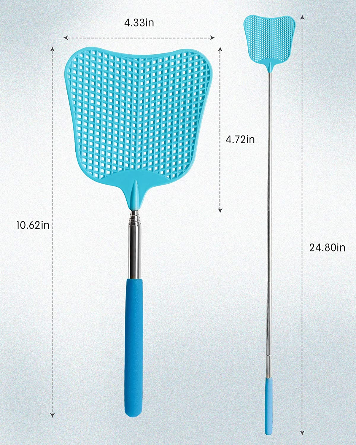 Office Anual Swat Pest Control with Strong Flexible Durable Telescopic Handle Telescopic Flyswatter with Stainless Steel Handle for Indoor Classroom Outdoor CUNCUI Large Extendable Fly Swatter