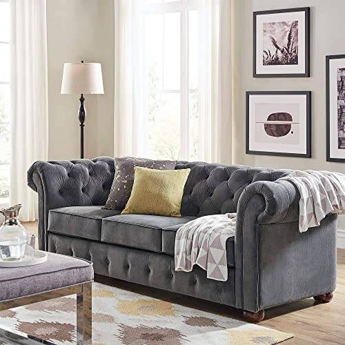 Inspire Q Knightsbridge Tufted Scroll Arm Csterfield Sofa by Artisan Dark Grey Velvet Linen