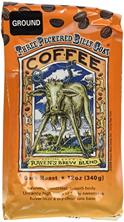 Raven's Brew Auto Drip Grind Three Peckered Billy Goat, Dark Roast - 12-Oz  Bag