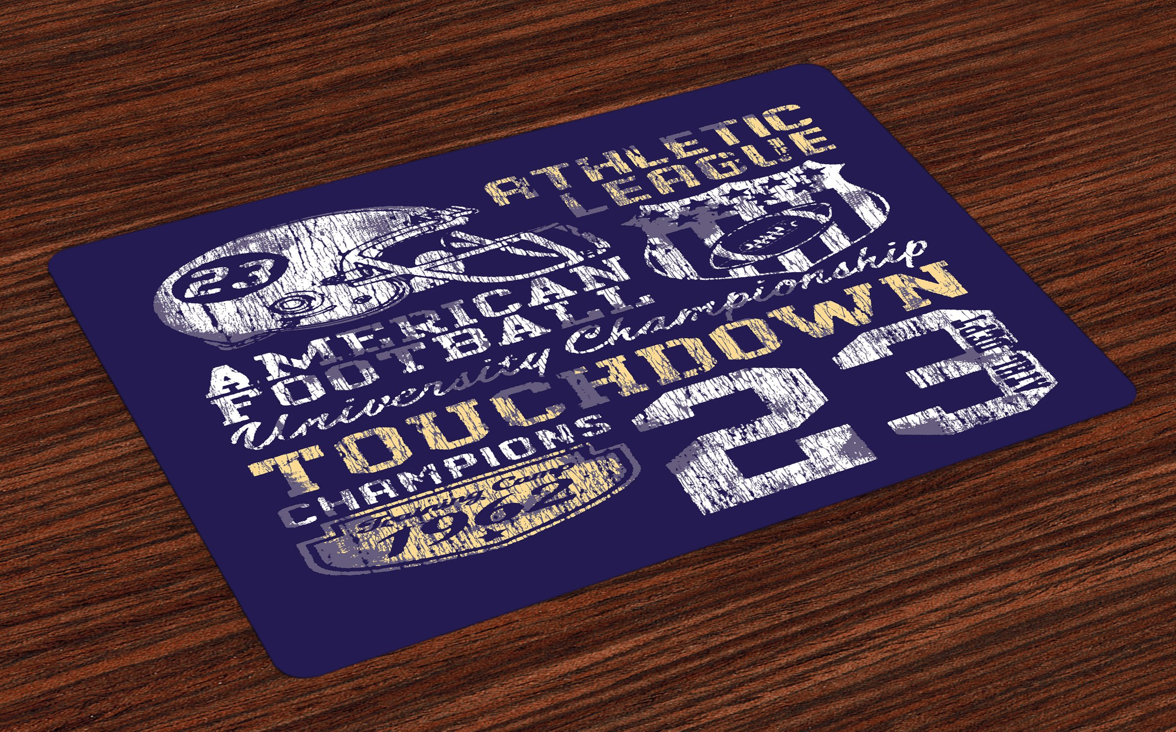 Ambesonne Sports Place Mats, Retro Style American Football College Theme Illustration Athletic Championship Apparel, Washable Fabric Placemats for Dining Room Kitchen Table Decor, Purple