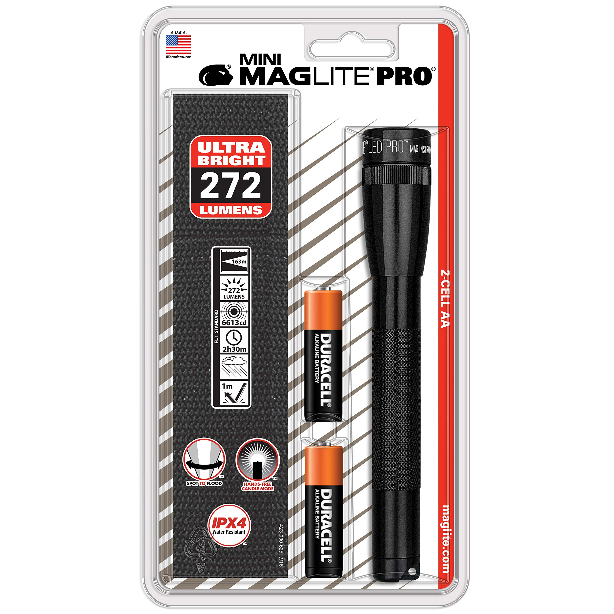 Maglite Mini PRO LED 2-Cell AA Flashlight with Holster Black by MagLite