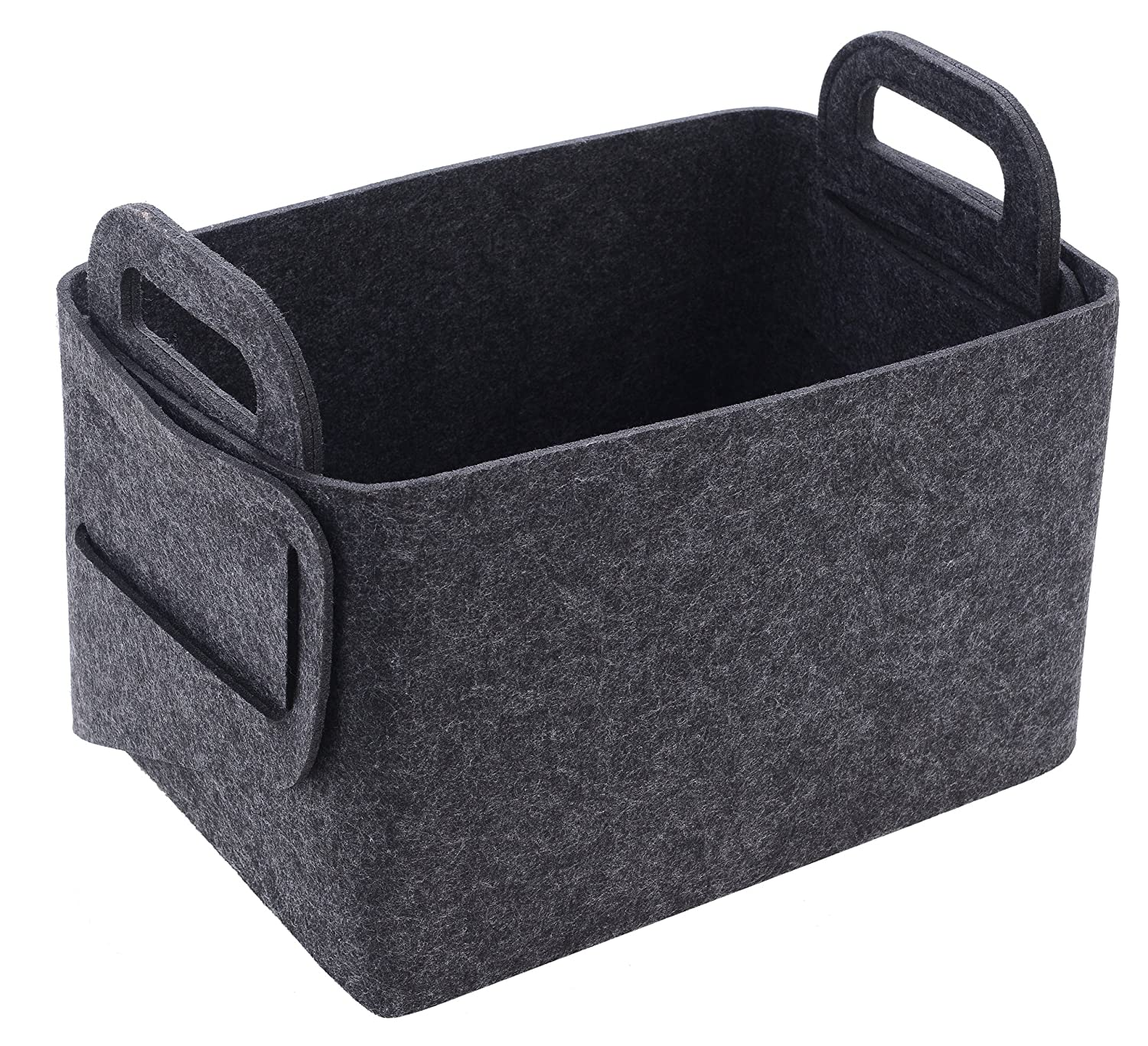 Size:17.9L/×12.2W/×11.6H LTD Felt Storage Basket or Bin Toys Bedroom Laundry Collapsible /& Convenient Storage Solution for Office Dark Grey, Large Xian min lu trade co. Closet