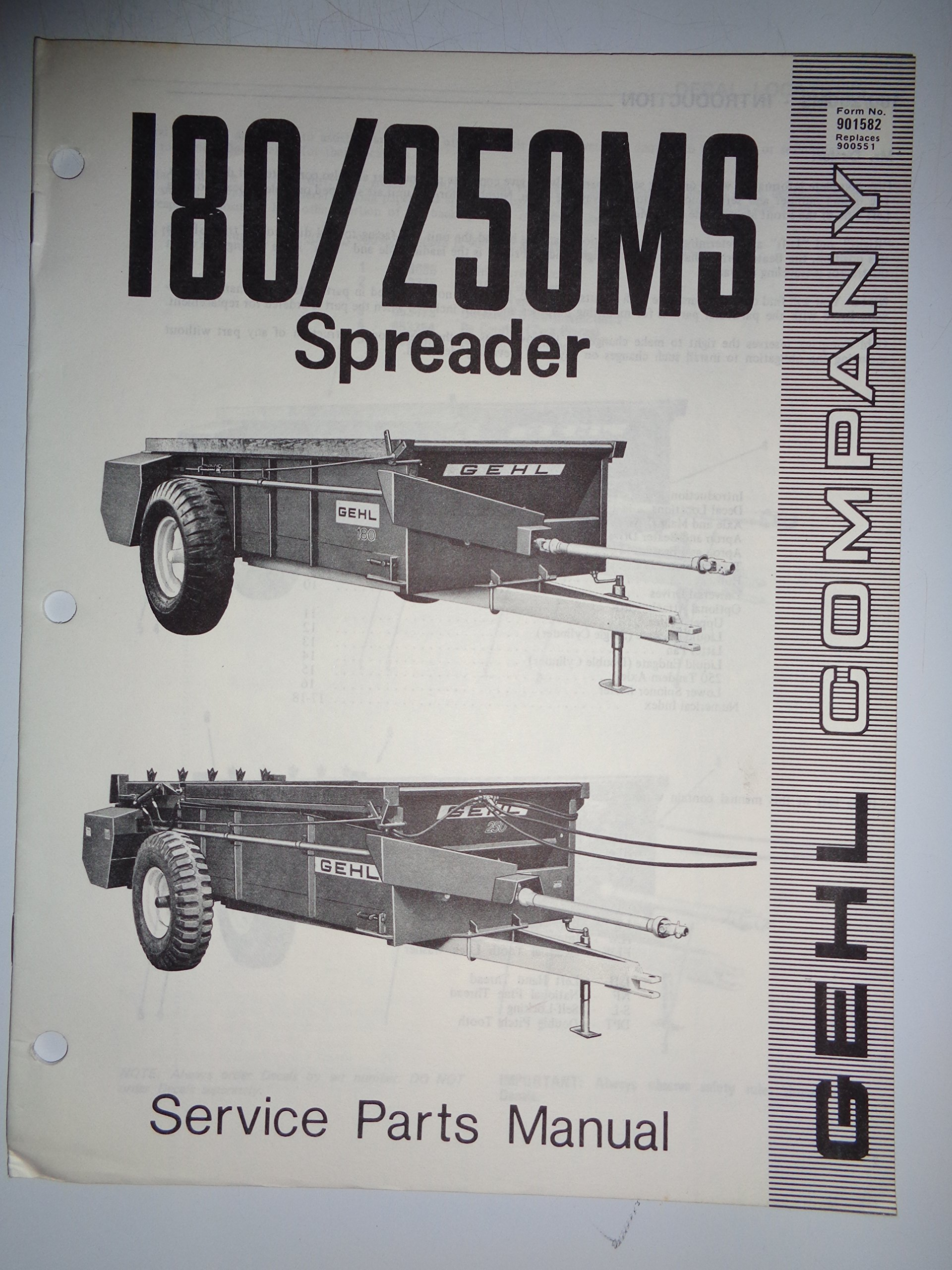 Gehl 180 and 250 MS Manure Spreader Parts Catalog Book