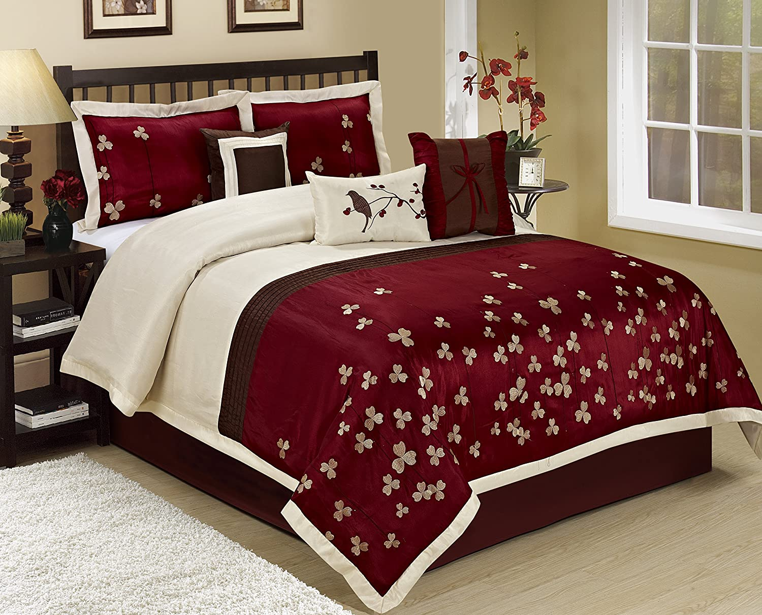 7 Piece Vienna Embroidered Comforter Set Queen King CalKing Size Queen, Burgundy