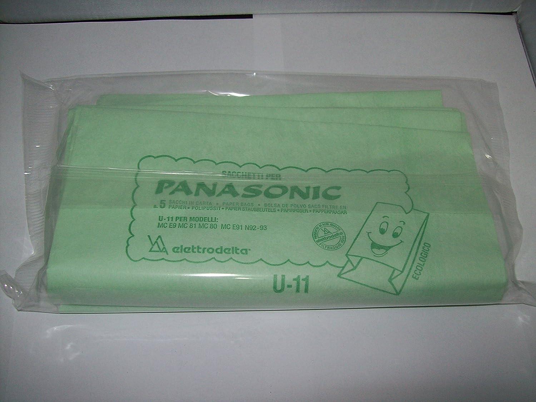 U11 - CONFEZIONE DA 5 SACCHI FILTRO PER PANASONIC SERIE MC E9-81-80-E91-N92-93 TSI