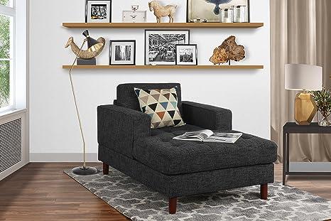 Mid Century Modern Linen Fabric Living Room Chaise Lounge (Dark Grey)