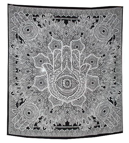 Amazoncom Raajsee Exclusive Hamsa Hand Tapestry For Goodluck Gray