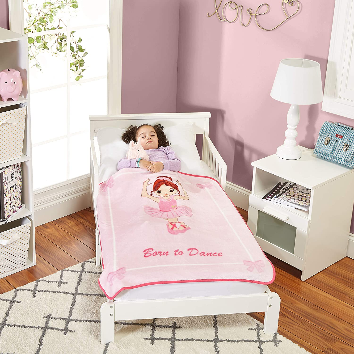 30 by 40 Super Soft Ballerina Born to Dance Toddler Throw Blanket Plush Warm and Comfortable
