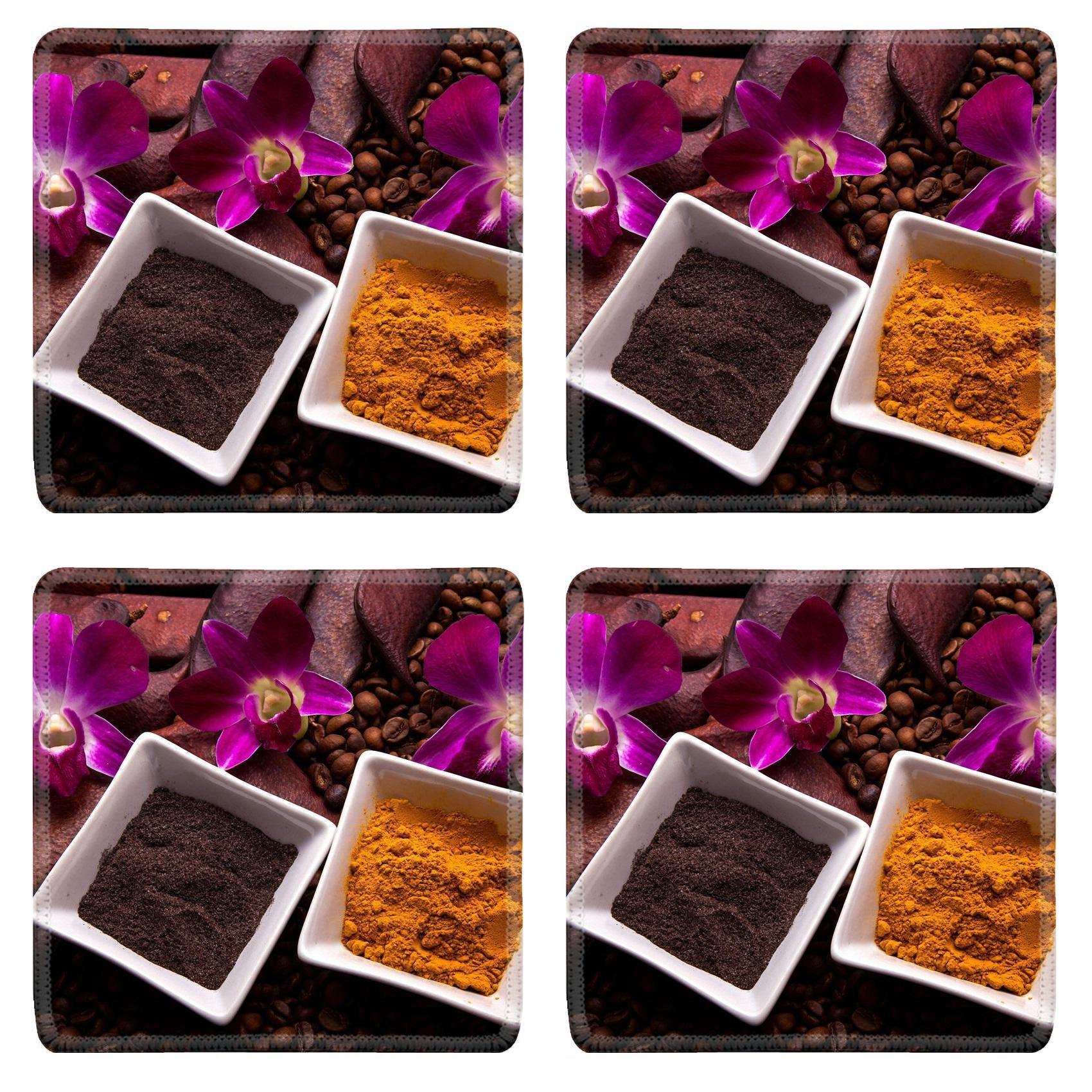 MSD Square Coasters Non-Slip Natural Rubber Desk Coasters design 21397956 Coffee and Turmeric Scrub for beauty treatment in spa