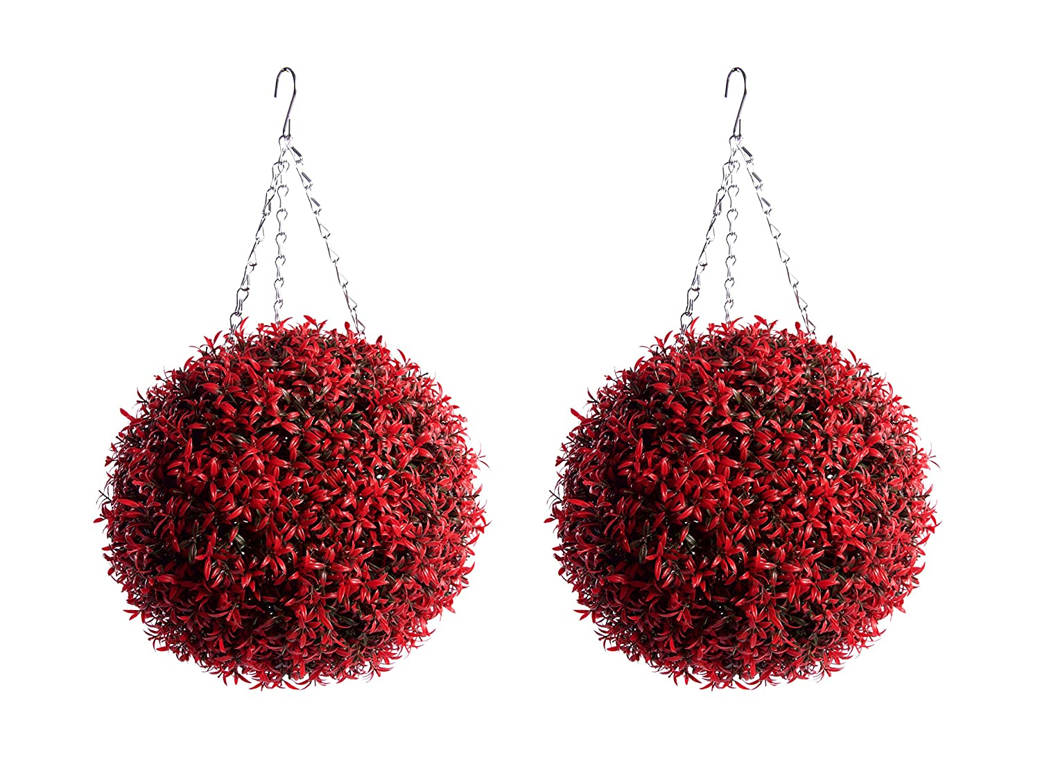 Best Artificial 30cm Red Rosemary Hanging Topiary Flower Ball