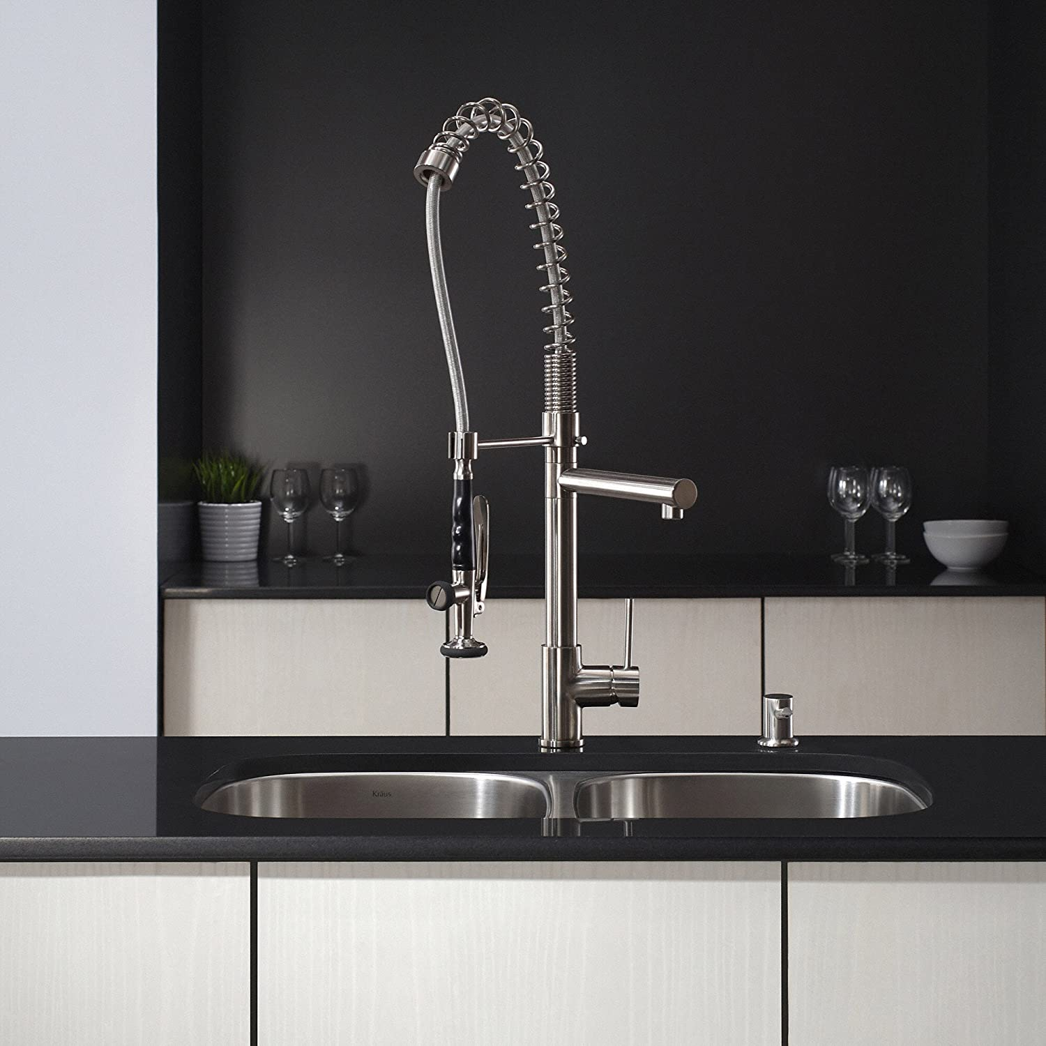 Kraus KPF 1602SS Single Handle Pull Down Kitchen Faucet Commercial Style  Pre Rinse, Stainless Steel     Amazon.com