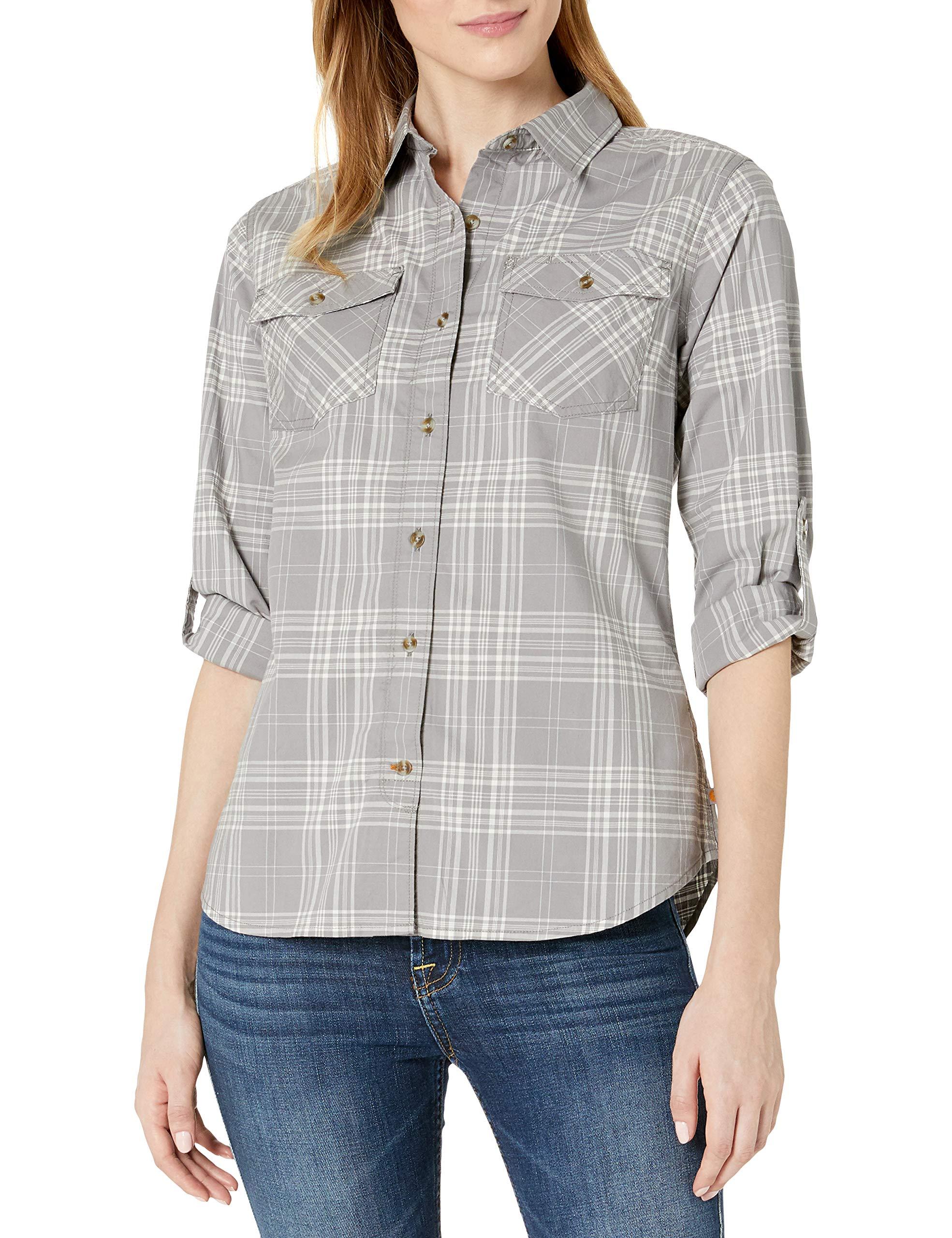 Carhartt Women's Regular Rugged Flex Slightly Fitted Long Sleeve Plaid Shirt