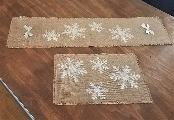Amazon Com Snowflake Table Runner And Placemats Set Rustic