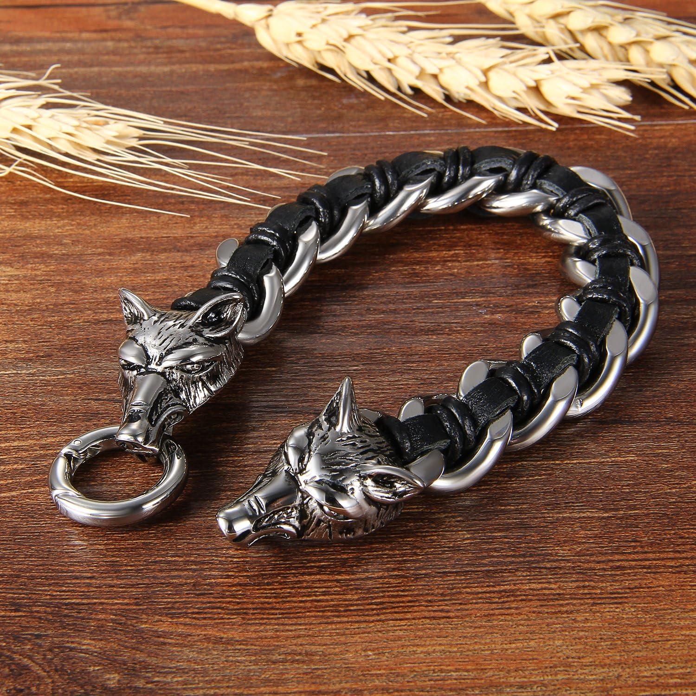 Cupimatch pour homme en acier inoxydable Biker T/ête de Loup Noir cuir tress/é entrelac/és Cha/îne Bracelet 23,6/cm