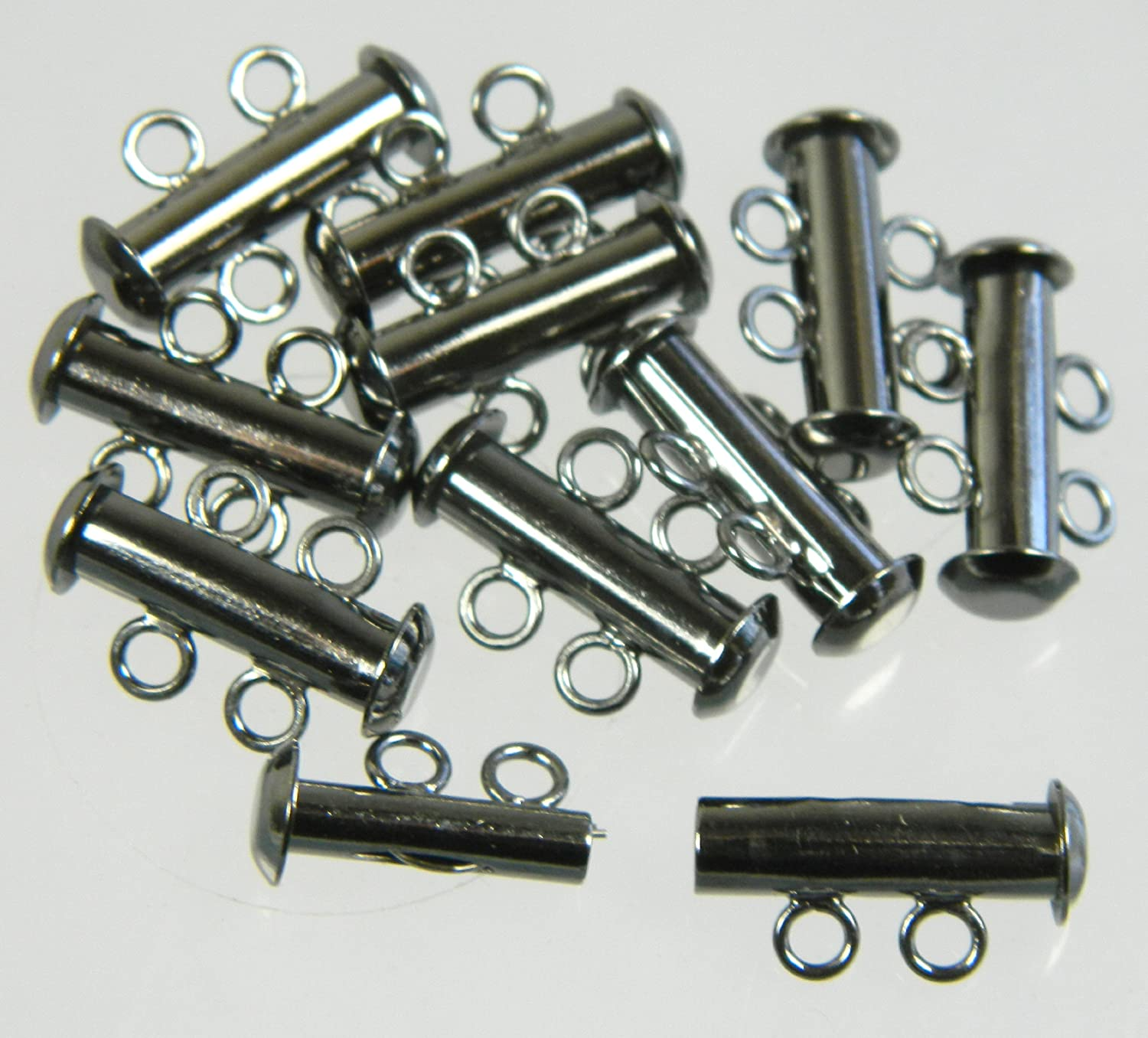 10 Pack Multi 2 Strand Slide Lock Clasps Silver Plated Brass