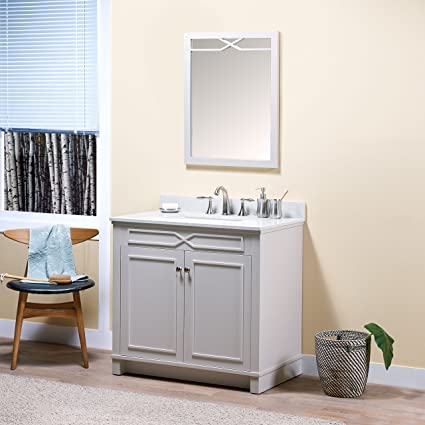 MAYKKE Abigail 36 Bathroom Vanity Set In Birch Wood French Grey Finish Single Gray Cabinet With Countertop Backsplash In White Quartz And Ceramic