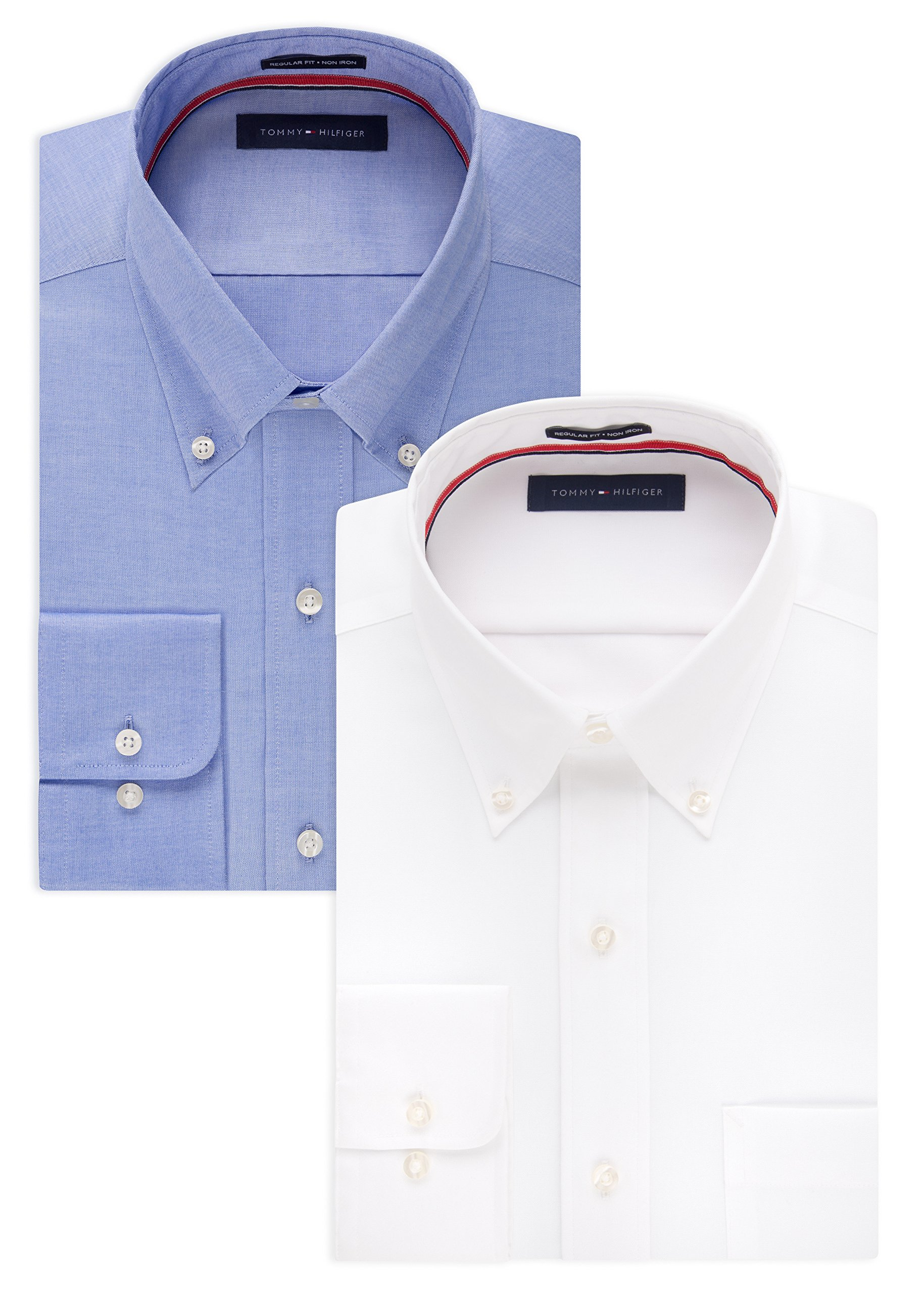TOMMY HILFIGER Men's Non Iron Regular Fit Solid Button Down Collar Dress Shirt, White/Blue, 17.5'' Neck 34''-35'' Sleeve
