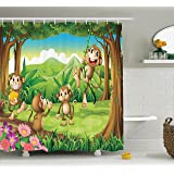 Ambesonne Animal Decor Collection, Digital Dot Featured Monkey Face  Portrait With Little Geometrical Rounds Decorative