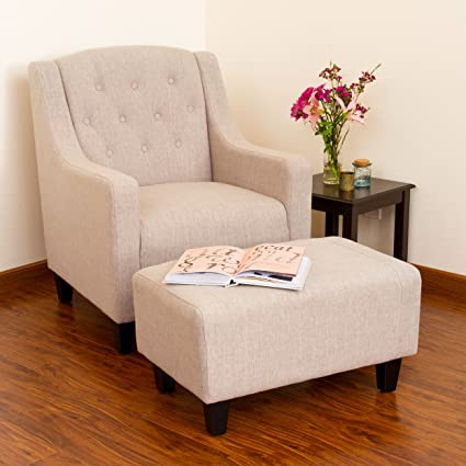 Attrayant Best Selling Evans Tufted Fabric Chair And Ottoman, Off White
