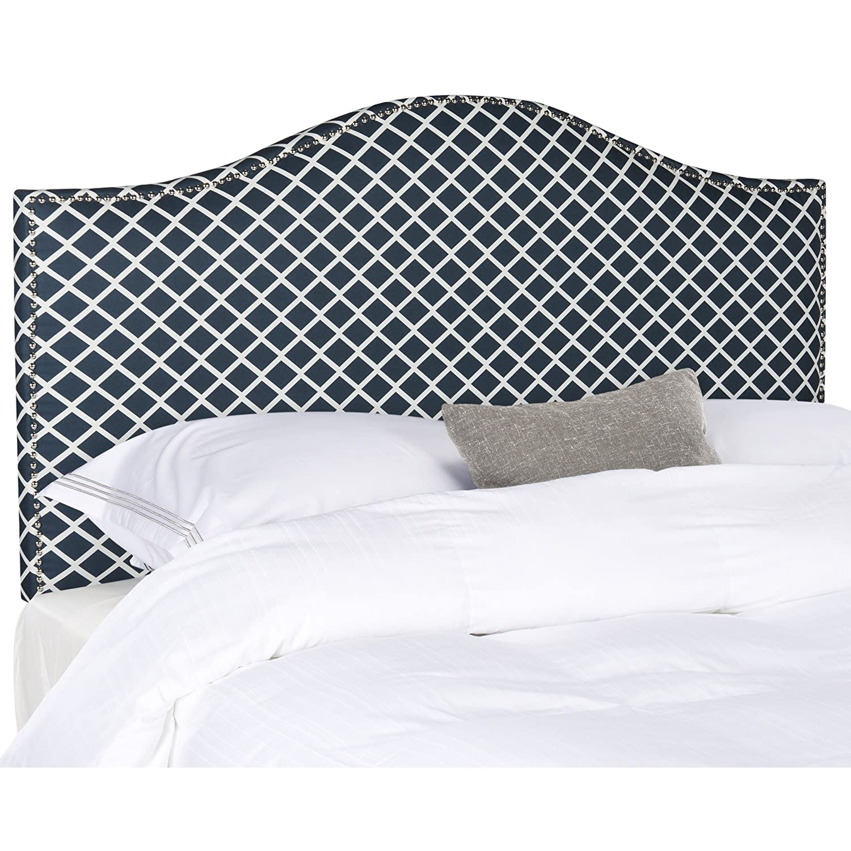 Amazon com safavieh connie grey upholstered camelback headboard silver nailhead full