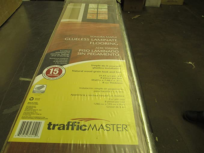 Trafficmaster Sonora Maple 8mm Thick X 7 11 16 In Wide 50 5 8 Length Laminate Flooring 21 63 Sq Ft Case Com