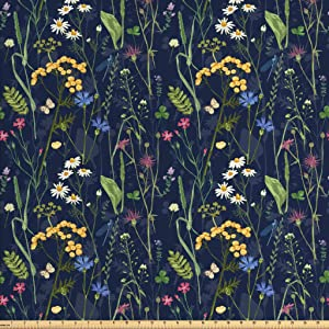 Lunarable Paint Fabric by The Yard, Botanical Beauty Floral Garden Daisy Magnolia Peony Lily Bloom Butterfly, Decorative Fabric for Upholstery and Home Accents, 1 Yard, Night Blue