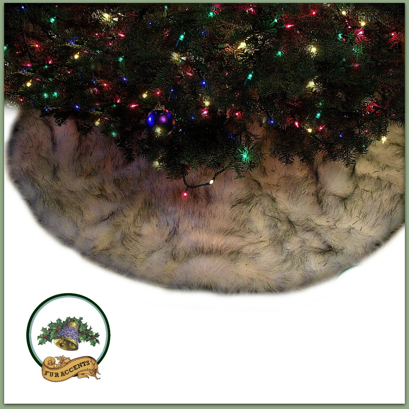 Classic Round Fur Christmas Tree Skirt / Black Tip / White Arctic Fox / Russian Wolf / Shaggy Sheepskin Faux Fur Tree Skirt / Log Cabin Lodge Premium Quality (10' Diameter)