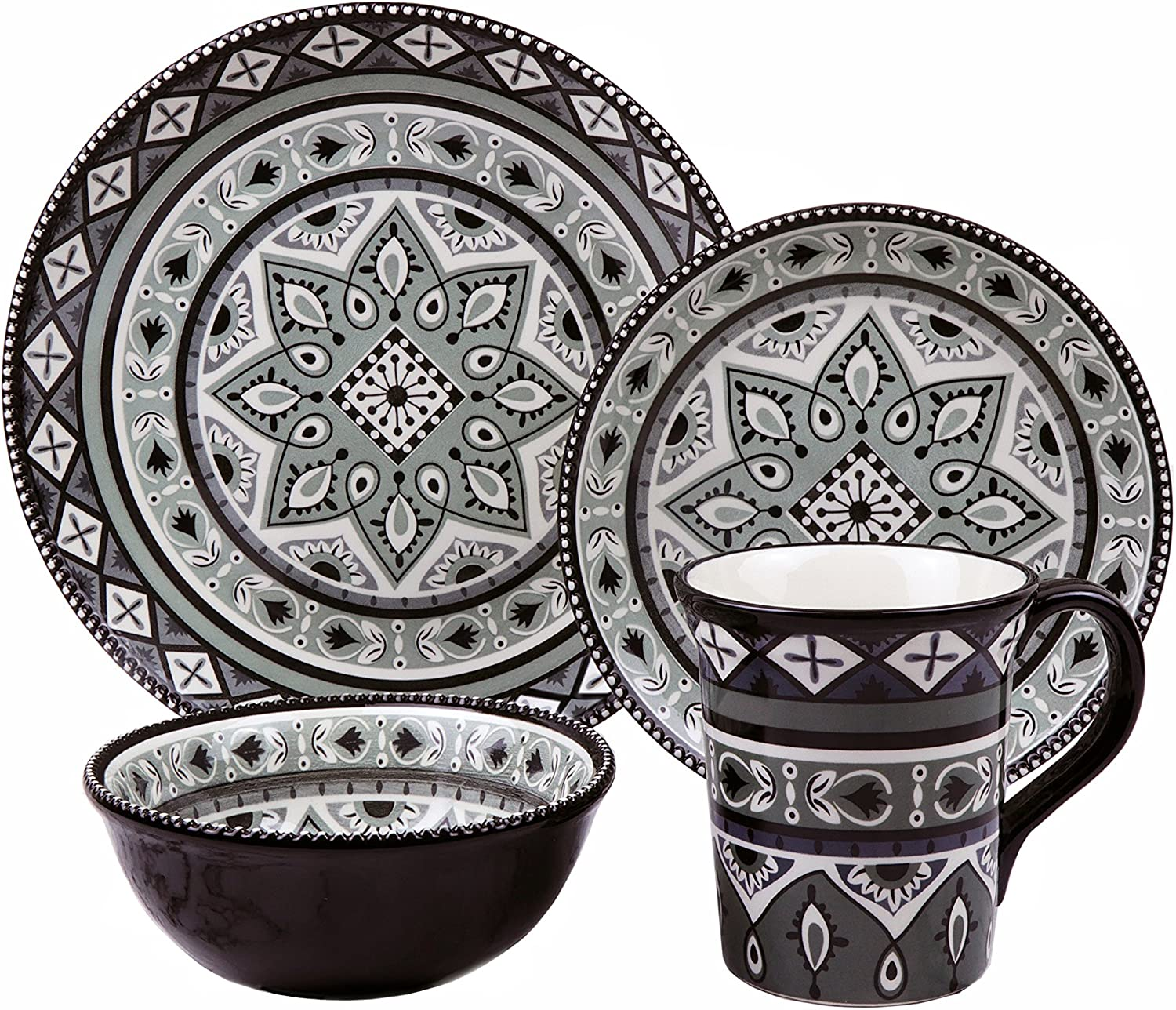 Lorren Home Trends LH512 Bimini Collection 16 Piece Black and Gray Beaded Stoneware Set By Lorren Home, One Size