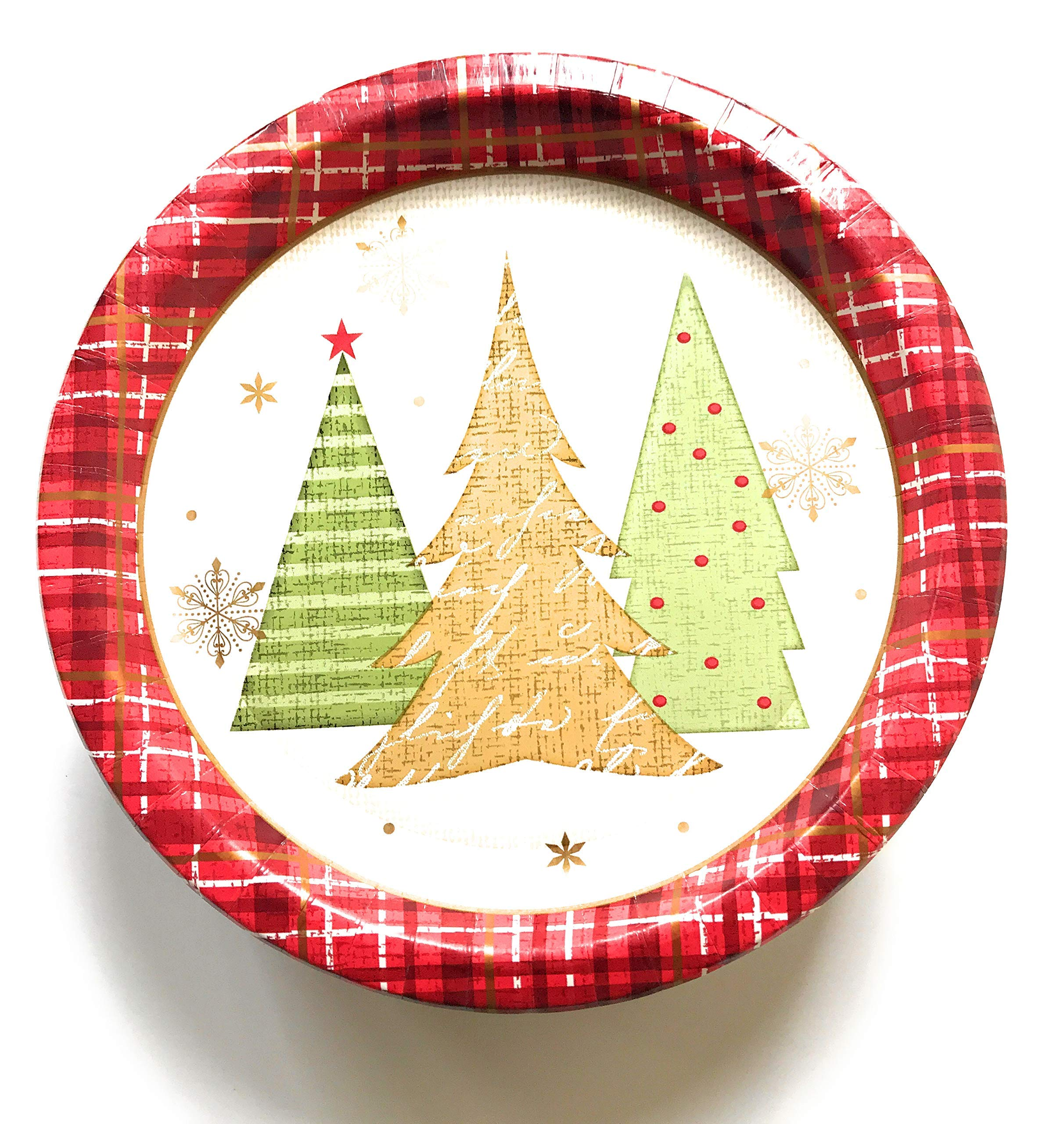 50 Large Christmas Paper Plates - Winter Wonder Theme 10.25 inch Christmas Plates (Large Plates Only)