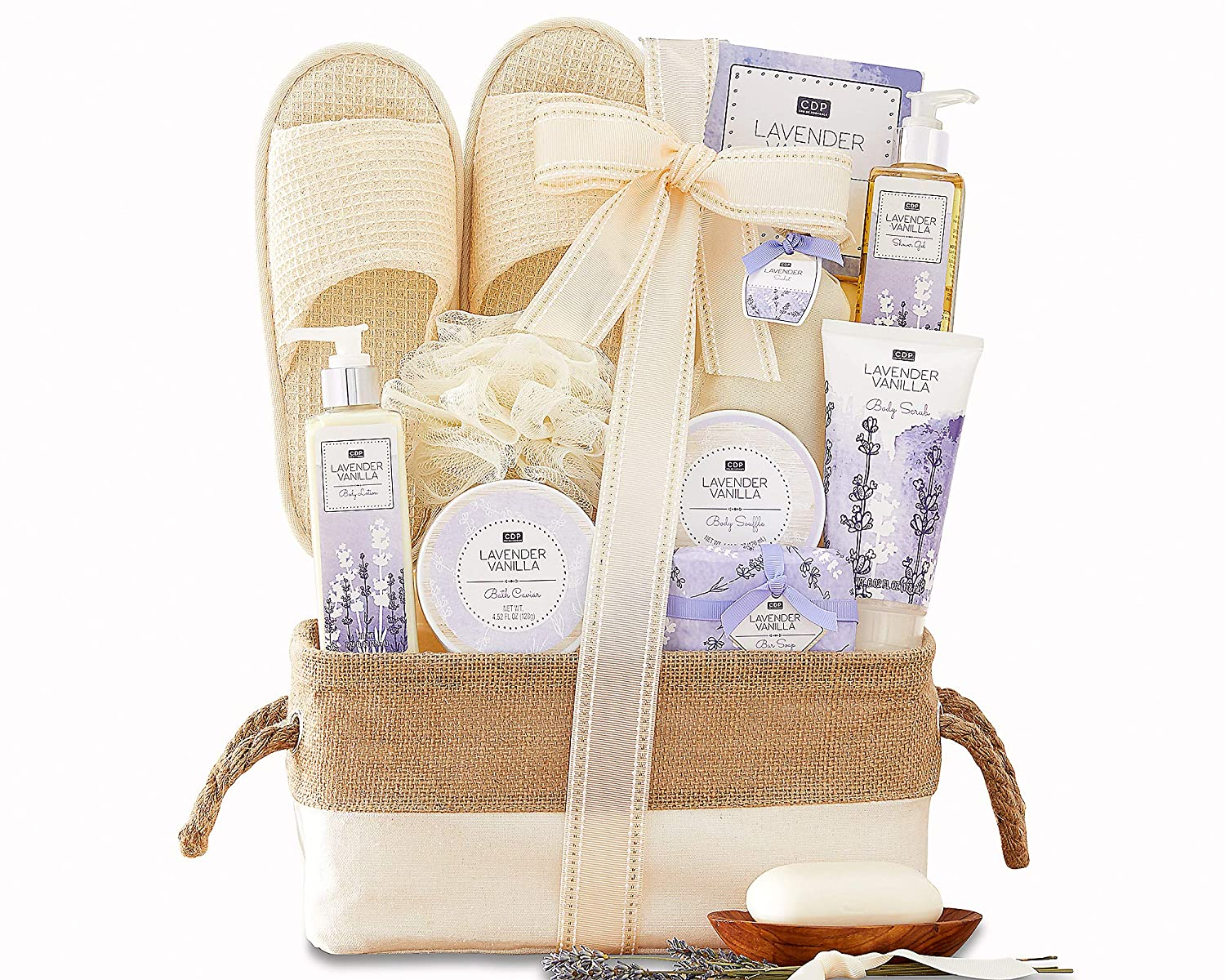 B00013C2YS Spa Gift Basket For Women - A Day Off Spa Gift For Her Men Lavender Vanilla Scented Spa Gift Baskets Bath & Body Gift Set Lovely Lined Basket Slippers and more by Wine Country Gift Baskets 912B9qqPITEL