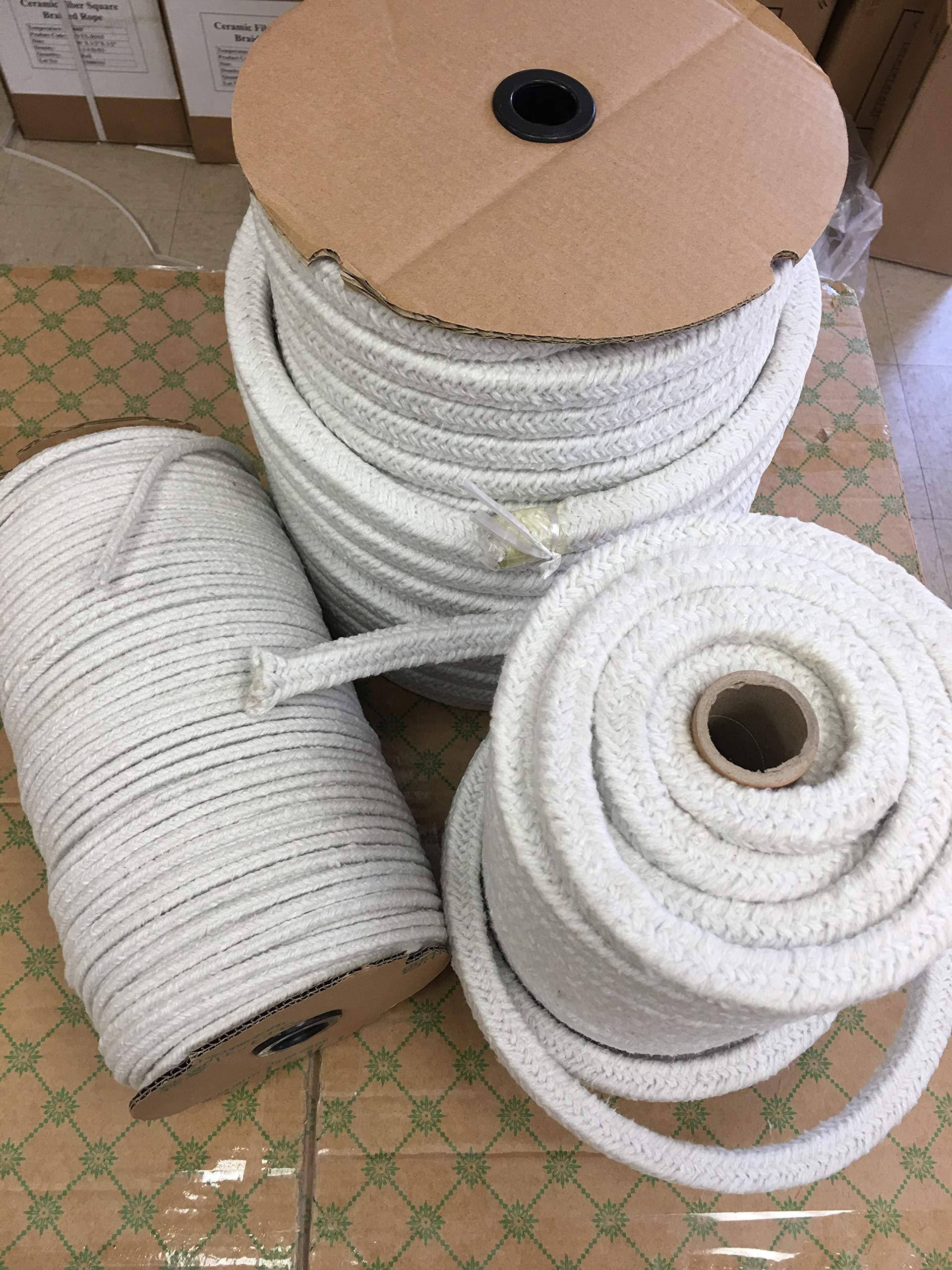 KT Refractories Ceramic Fiber Round Braided Rope 150ftX3/4''Diameter by KT Refractories