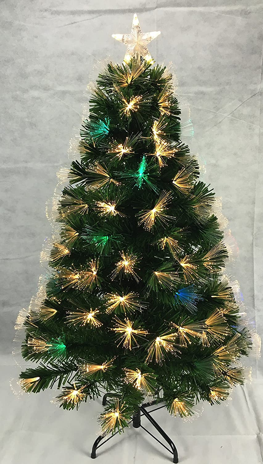 48 Inch (4FT) Green LED Firework Fibre Optic Christmas Tree With Warm White LED + Colour Changing LED Lights