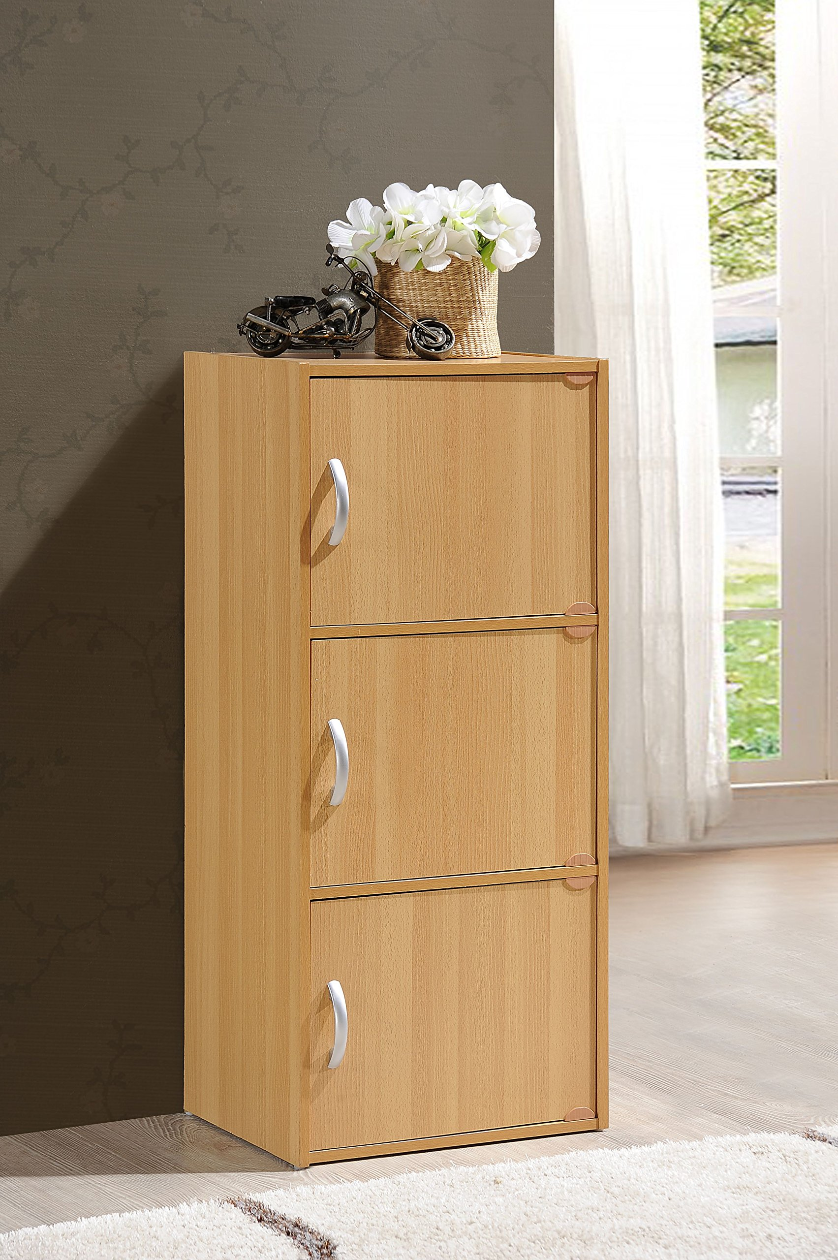 Hodedah 3 Door, Three Shleves, Enclosed Storage Cabinet, Beech by HODEDAH IMPORT (Image #2)