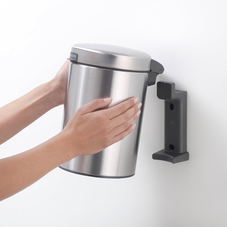 Brabantia NewIcon Cubo de Basura Mural para baño, Acero Inoxidable, Mate, 3 litros