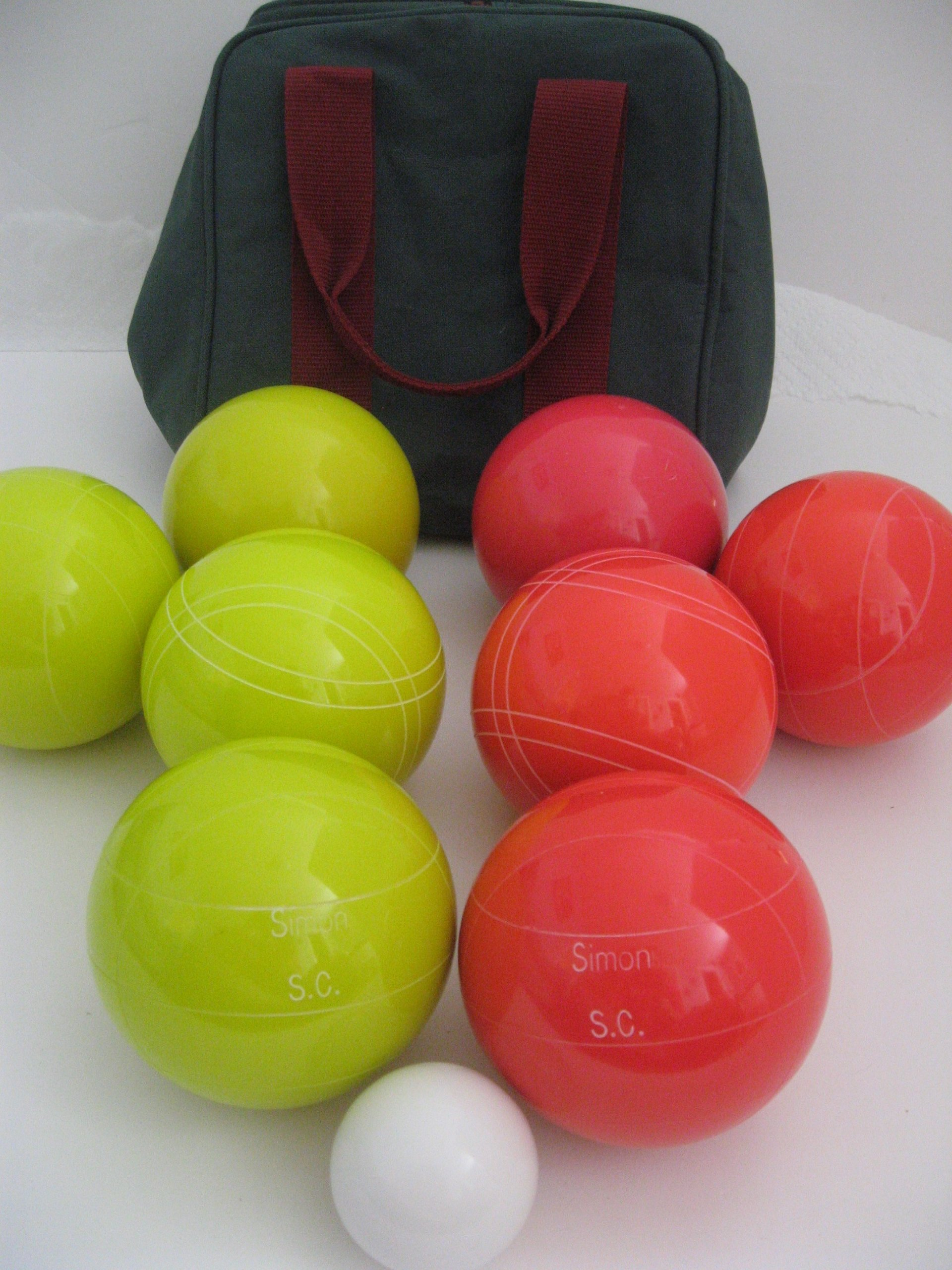 Premium Quality Engraved Bocce Package - 110mm Epco Yellow and Light Red Balls with Engraving by Epco