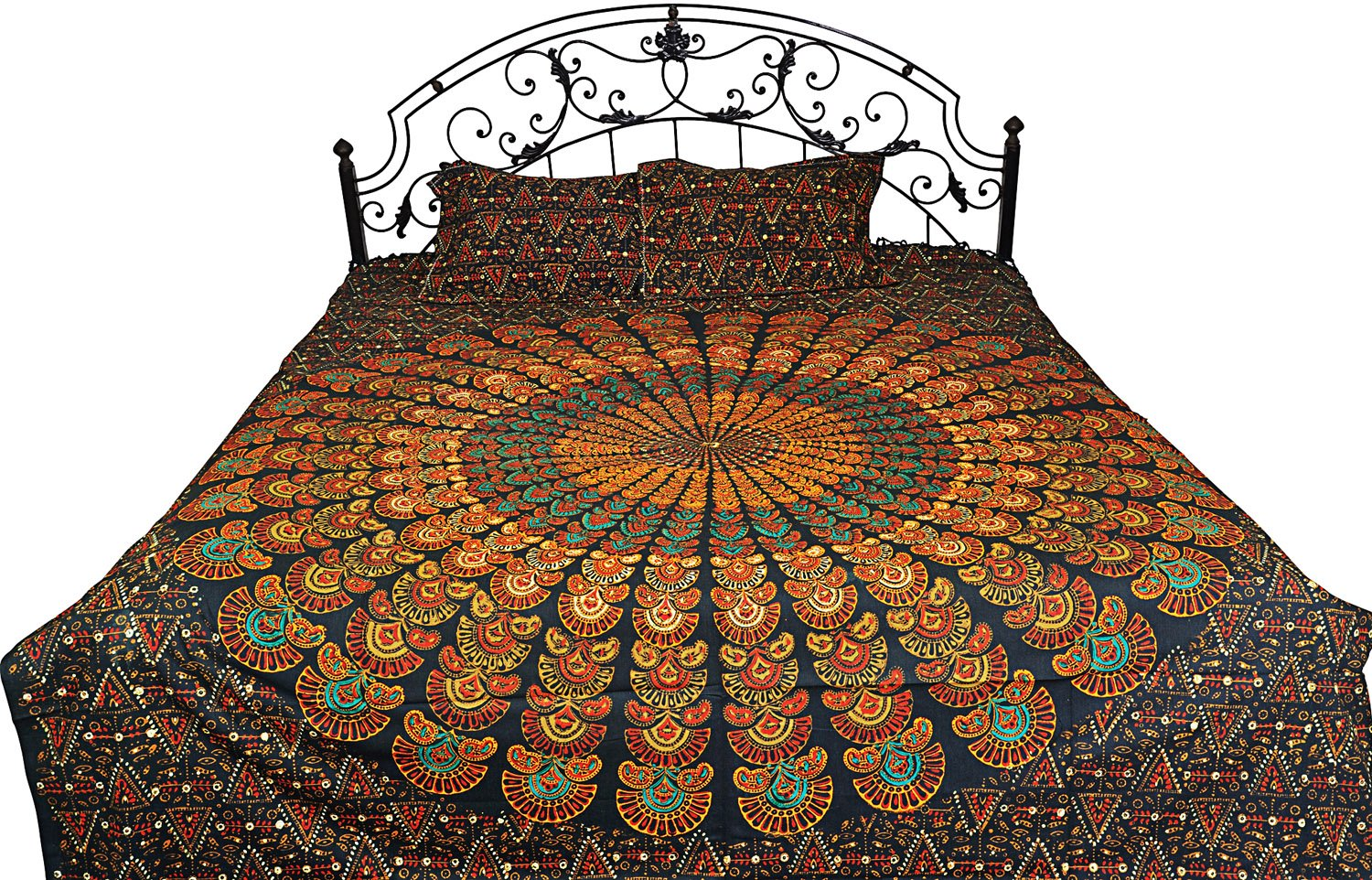 Bedspread from Pilkhuwa with Printed Giant Mandala - Pure Cotton Printed with Natural DyesbrWith Pil - Color Darkest Spruce Color