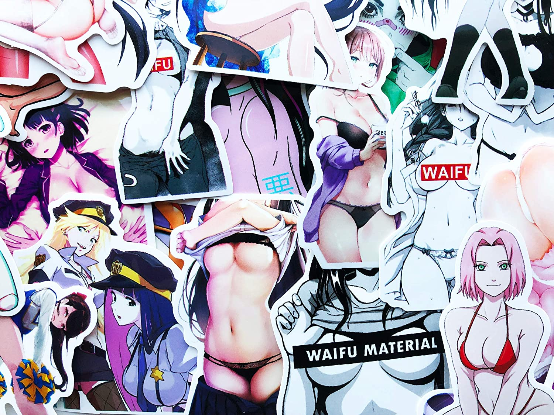 10 Random Sexy Anime Waifu Girls Stickers Ahegao Hentai Lewd Decals for Laptop Skateboard Car Bumper (Waifu)