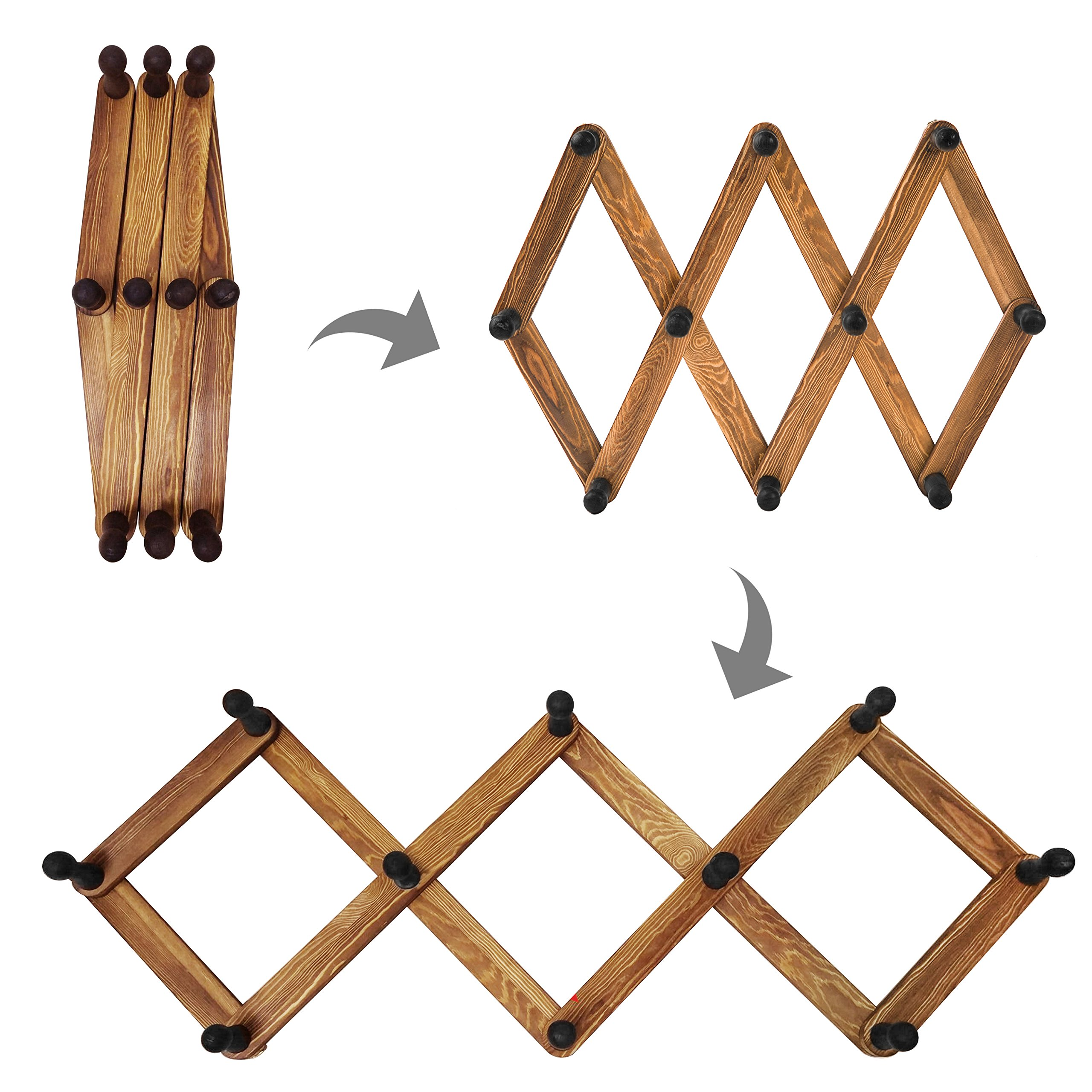 MyGift 10 Hook Torched Wood Wall Mounted Expandable Accordion Peg Coat Rack Hanger by MyGift (Image #4)