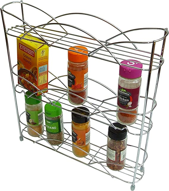 Kitchenista Free Standing Spice And Herb Rack Universal Chrome