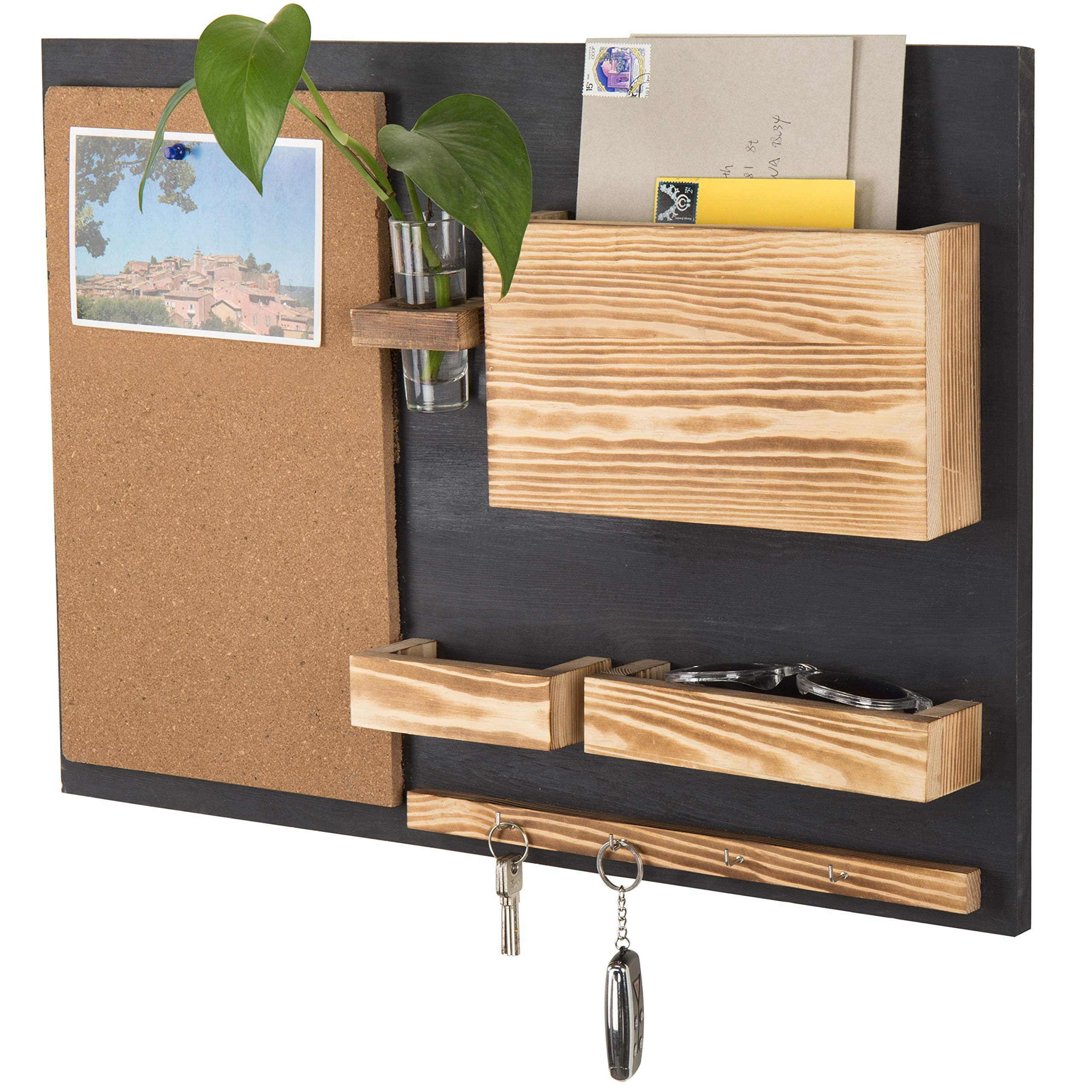 MyGift Wall-Mounted Organizer with Cork Bulletin Board, Mail Holder, Key Hooks, Flower Vase by MyGift