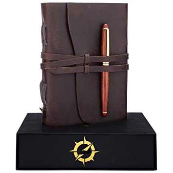 Leather Journal Gift Set RoseWood Pen A Handmade Unique Gifts Ideas Best Personalized Anniversary Birthday