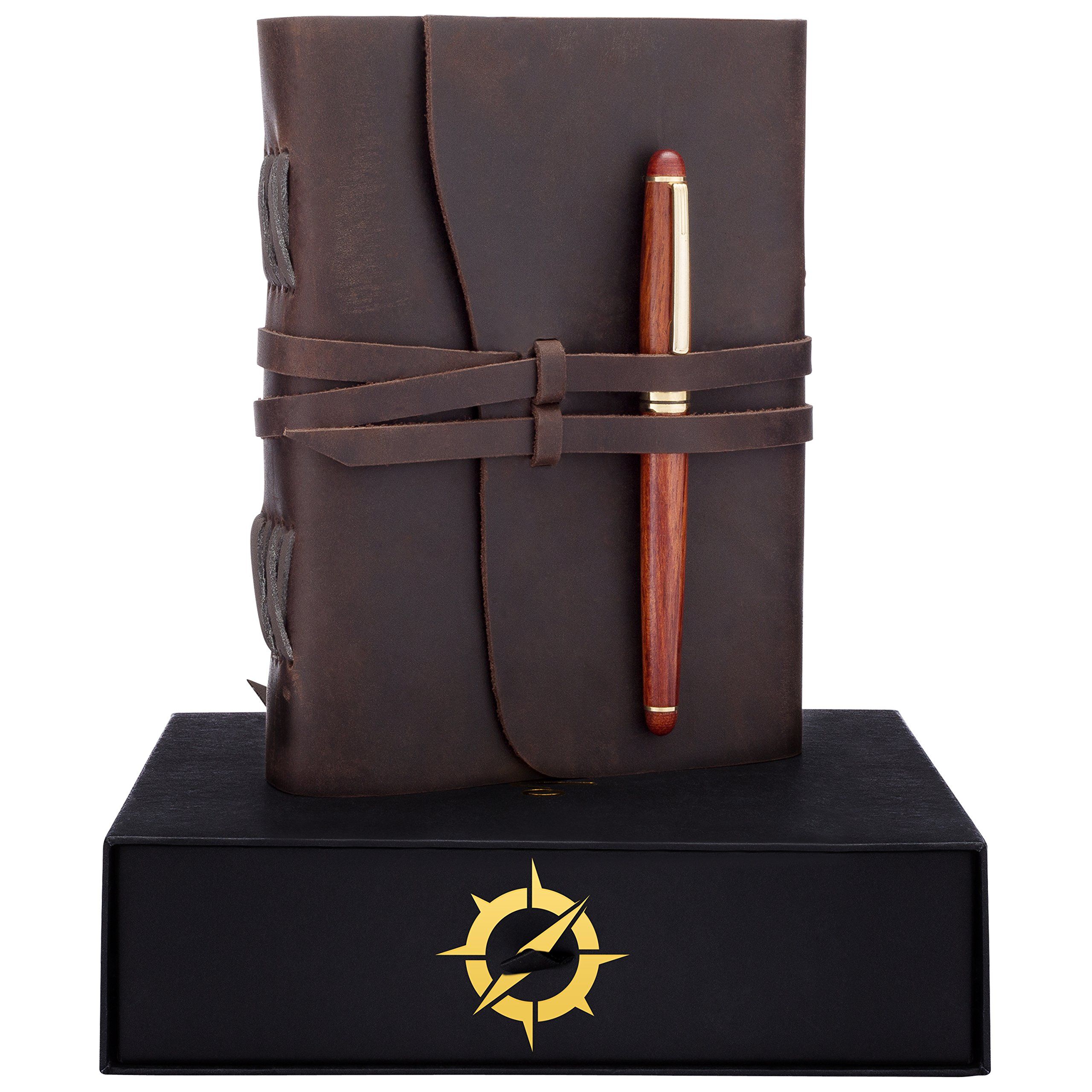 Leather Journal Gift Set RoseWood Pen â Handmade Unique Gifts Ideas, Best Personalized Anniversary Birthday gifts for Men Women, Graduation Gifts for Him Her, Luxury Presents, Refillable Notebook
