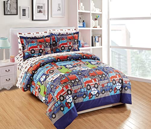 Luxury Home Collection 7 Piece Kids Full Comforter Set Heroes Police Car Fire Truck Tow Fire Hydrant White Blue Red Heroes Full Comforter