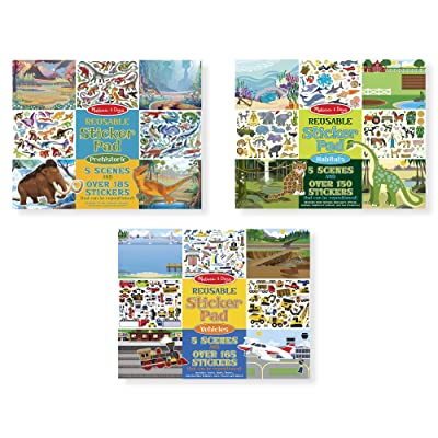 Melissa & Doug Reusable Sticker Pads Set: Prehistoric, Habitats, and Vehicles, Great Gift for Girls and Boys - Best for 3, 4, 5 Year Olds and Up: Toys & Games