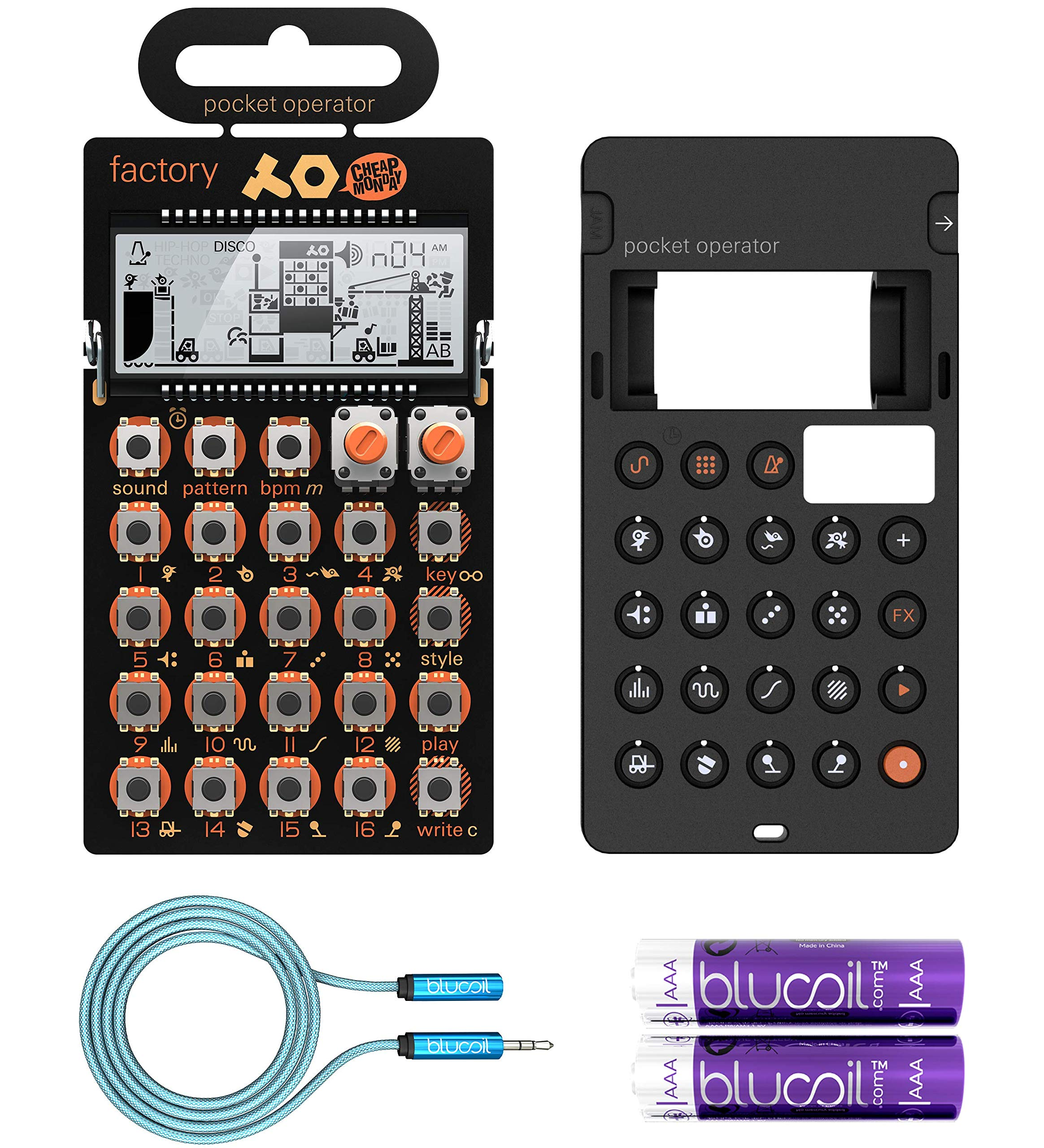 Teenage Engineering PO-16 Factory Pocket Operator, Sounds, Patterns & Effects Synthesizer & Sequencer Bundle with CA-16 Silicone Case, Blucoil 6-FT Headphone Extension Cable (3.5mm) & 2 AAA Batteries