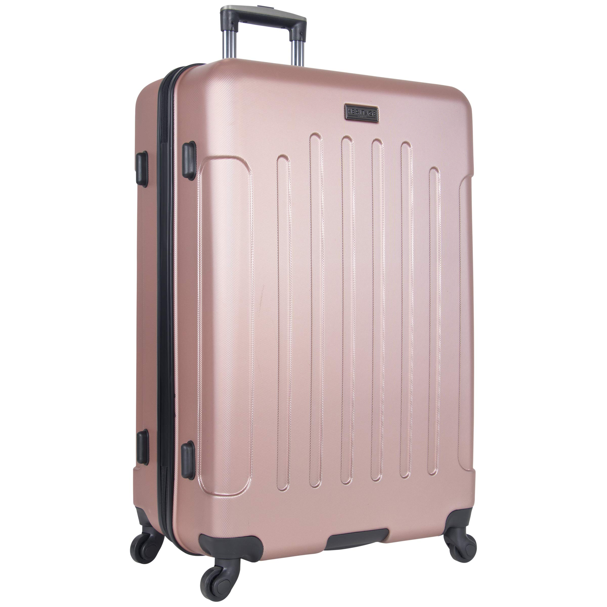 Heritage Travelware Lincoln Park 29'' Lightweight Hardside 4-Wheel Spinner Checked Luggage, Metallic Rose Gold